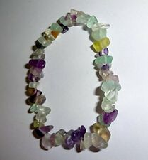 "Fluorite Crystal Healing Gemstone 7""  Chip Stretch Bracelet  (increase energy)"