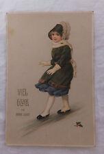AK zum neuen Jahr Mädchen elegant gekleidet gel. 1912