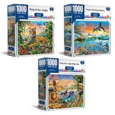 3x 1000pc Crown Imagine Lion/savannah/dolphins 68.5cm Jigsaw Puzzle Toy 8y Kids