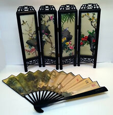 """Mini 15"""" 4 Leaf Chinese Folding Glass Screen, Birds and Flora, and folding fan"""