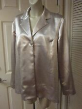CHICO'S GORGEOUS PEARL SILVER SHINY SATIN HOLIDAY DRESS DINNER SHIRT JACKET 3 XL