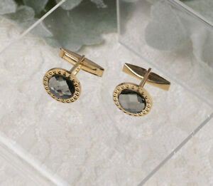 Pale Green Cushion Cut Round Gold Tone Cufflinks - Small and light