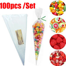 100pcs Cellophane Cone Bags Clear Christmas Gift Sweets Treat Bags Party Packing