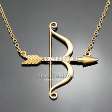 Vintage Gold Cupid Bow & Arrow Katniss Archery Charm Crystal Chain Necklace W8