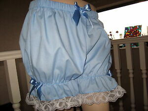 Baby Blue Bloomers Adult White Frilly Lace lolita Sissy Pantaloons 24,26,28,30