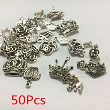 50Pcs Mixed Lots of Tibetan Silver Tone Crown Charms Pendants Jewelry Making DIY