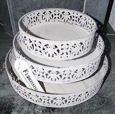 Deko-Tablett*Metall*3 Größen*Shabby chic*Landhaus*weiß*grau*Kerzentablett*rund w