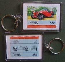 1947 MG TC Car Stamp Keyring (Auto 100 Automobile)