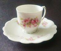 Demitasse Cup And Saucer - M.Z.  Austria - Tiny Pink Flowers - Beautiful !