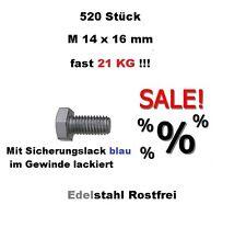 520 Edelstahl Schrauben Din 933 M14 x 16 mm - mit Sicherungslack im Gewinde