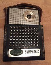 SYMPHONIC S-62 S62 POCKET AM TRANSISTOR RADIO RARE Leather Case