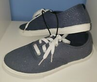 Faded Glory Girls Lace-Up Canvas Casual Sneakers Shoes Sparkling Denim Size 2