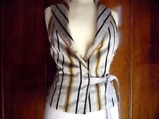 womans waistcoat striped grey gold black textured silk handmade lined 8 UK 34 EU