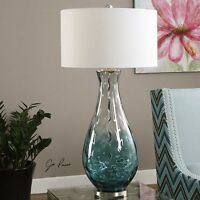 """Blue Ombre Water Glass Table Lamp Brushed Nickel Finish Accents Tall 38""""H"""