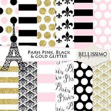 Paris Pink, Black & Gold Glitter Scrapbook Papers, 12 Sheets, Custom Design