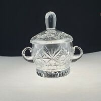 "Vintage Antique Cut Crystal Sugar Bowl With Lid and handles 6"" Tall Heavy"