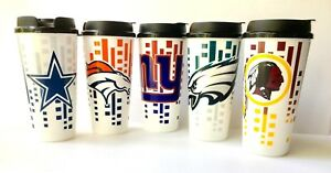 TUMBLERS WITH SNAP TIGHT LIDS 2PK NFL 32OZ TRAVEL CUP FOOTBALL -PICK YOUR TEAMS