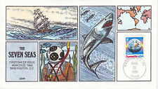 COLLINS HAND PAINTED FIRST DAY COVER FDC 1988 'E' & EARTH ISSUE THE SEVEN SEAS