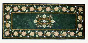 18 x 36 Inches Green Marble Inlay Coffee Table Top Floral Pattern Center Table