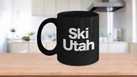 Ski Utah Mug Black Coffee Cup Funny Gift Skier Patrol Bunny Bum Skys Park City