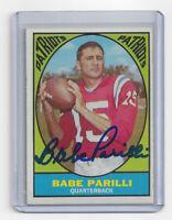 1967 PATRIOTS Babe Parilli signed card Topps #2 AUTO Autographed Boston QB