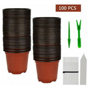 4 Plastic Nursery Pot Flower Plant Container Garden With Planting Label Garden