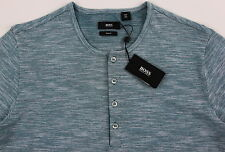 Men's HUGO BOSS Green White Henley Knit Shirt XXL 2XL NWT NEW $115+ Slim Fit