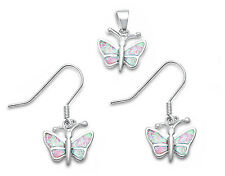 Pink Fire Opal Butterfly .925 Sterling Silver Pendant & Earrings Set