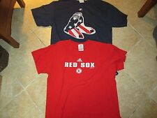 (2) BOSTON RED SOX MAJESTIC & ADIDAS SHORT SLEEVE TOPS (LG) PREOWNED RED & NAVY
