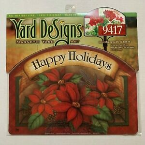 Yard DeSigns Magnetic Yard Art Sign Poinsettia Basket Happy Holidays Floral