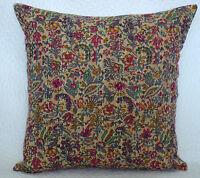 "Beige Cushion Cover Floral Pattern Kantha Stitch Pure Cotton Pillow Case 16"""
