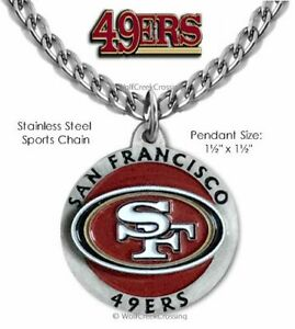 SAN FRANCISCO 49ERS NECKLACE - STAINLESS STEEL CHAIN NFL FOOTBALL FREE SHIP #1'