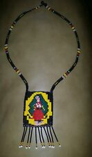 ONE-OF-A-KIND HUICHOL CHAQUIRA VIRGEN OF GUADALUPE HANDMADE NECKLACE