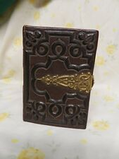 """ANTIQUE VINTAGE 1800""""S LEATHER & SMALL BRASS PHOTO ALBUM GREAT SHAPE"""