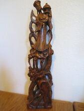 "QUAN AM - DRAGON 18"" Carved Wood STATUE Guidance Protection Bodhisattva Vietnam"