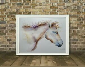 New large signed original Elle Smith watercolour art painting of a Running Horse