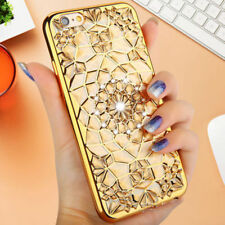 Luxury Diamond Crystal Flower Chrome TPU Case Cover For iPhone/Samsung Phones