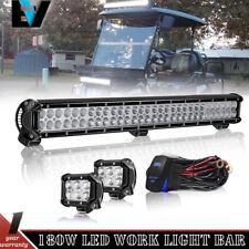 28'' LED Light Bar Combo Beam +2 X Pods+Wire For EZGO TXT Golf Cart Light Kit