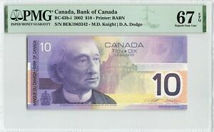 CANADA 10 Dollars 2002, BC-63b-i Knight Dodge, PMG 67 EPQ Superb Germ UNC Rare