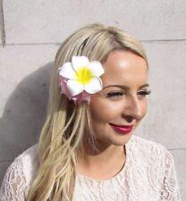 Double Blanc Rose Plumeria Frangipani Pivoine Fleur Pince à Cheveux Plume 50 S 3702