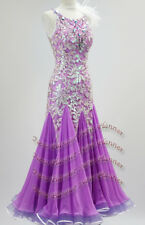 B7635  Ballroom swing Waltz Tango Rhythm us 6 Dance Dress feather