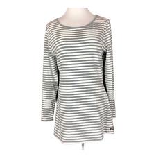 Matilda Jane Women's L Grey Striped Long Sleeve Tee Knit Cotton