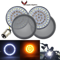 """Eagle Lights Bullet 2"""" Harley Front LED Turn Signals w/ Halo DRL & Smoked Lenses"""