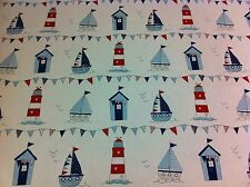 FRYETT`S  Cotton MARITIME Blue Fabric for Curtain/Upholstery,Crafts,Quilting