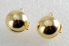 Vintage Lockets Pair Round Ball Gold Plated Pendant Jewelry Making