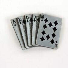 ROYAL FLUSH OF DIAMONDS B&W BELT BUCKLE POKER GAMBLER BIKER ROCK FIT SNAP BELT