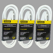 (3pc) 9.84ft/3m Extension Cord Cable 16 AWG Heavy Duty Indoor Outdoor 3conduct