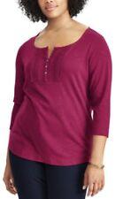 CHAPS Womens Plus Size 2X Cotton Pintuck Lace Bib Top 3/4 Sleeve Knit Tee $56