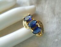 Vintage Jewellery Gold Ring with Blue White Sapphires Antique Art Deco Jewelry