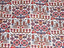 """vintage sewing quilting fabric woven cotton 5 1/3 yds x 30"""" w folk tribal boho"""